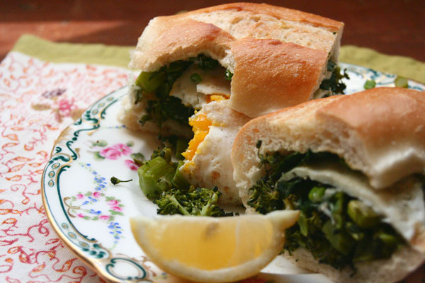 RoastedBroccoliAndFriedEggSandwich